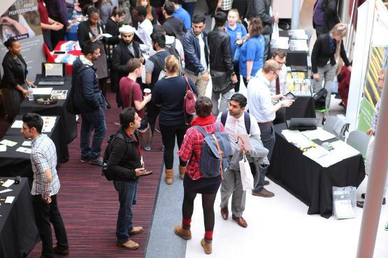 Students attending a careers fair at the University of Bradford