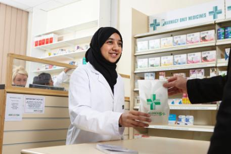 A student in a pharmacy