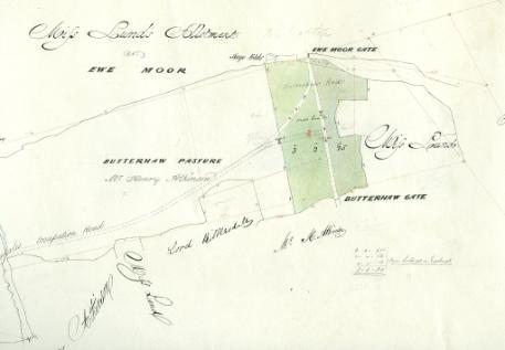 Sketch plan of MIss Lund's allotment, Ewe Moor, near Malham, by John Greenwood, 1850. From Raistrick Map Collection, reference 1160.